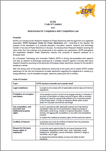 ECPE Code of Conduct incl. Instructions for Compliance with Competition Law