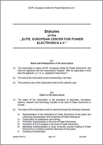 Statutes of ECPE e.V.