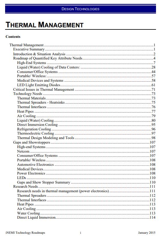 Thermal Management Roadmap