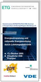 ECPE Workshop: Energieeinsparung und rationelle Energienutzung durch Leistungselektronik